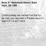 Unfortunately we cannot find the fly-tip that you reported – Please report it again if it is still there-87 Wakefield Street, East Ham, E6 1NR