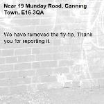 We have removed the fly-tip. Thank you for reporting it.-19 Munday Road, Canning Town, E16 3QA
