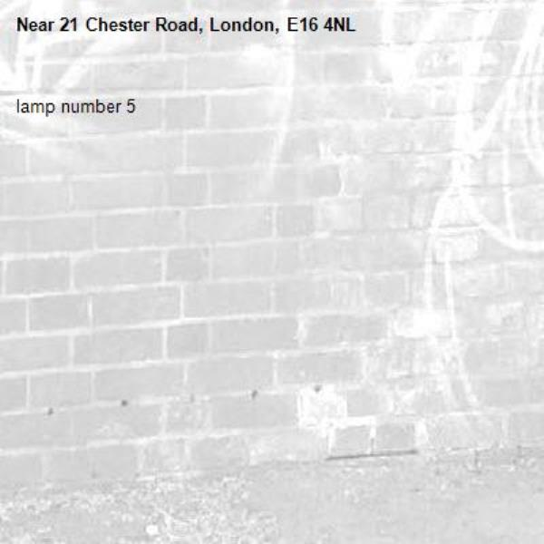 lamp number 5-21 Chester Road, London, E16 4NL