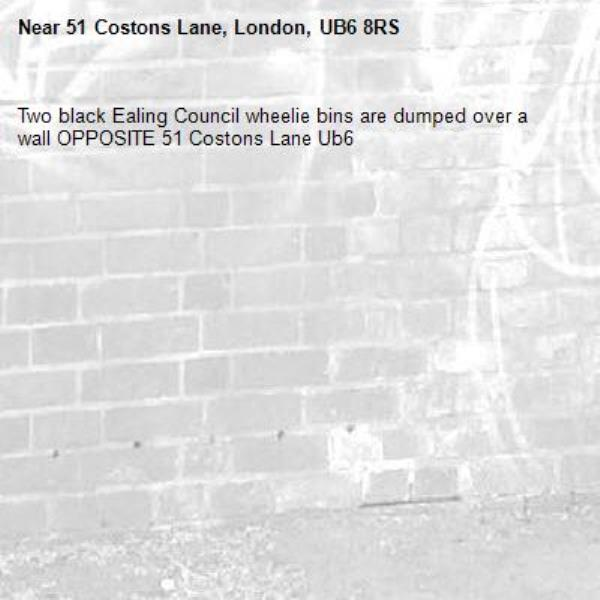 Two black Ealing Council wheelie bins are dumped over a wall OPPOSITE 51 Costons Lane Ub6 -51 Costons Lane, London, UB6 8RS