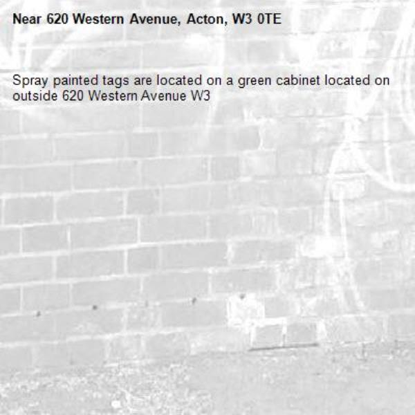 Spray painted tags are located on a green cabinet located on outside 620 Western Avenue W3-620 Western Avenue, Acton, W3 0TE