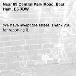 We have swept the street. Thank you for reporting it.-69 Central Park Road, East Ham, E6 3DW