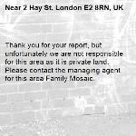 Thank you for your report, but unfortunately we are not responsible for this area as it is private land. Please contact the managing agent for this area Family Mosaic. 