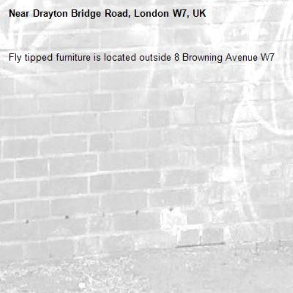 Fly tipped furniture is located outside 8 Browning Avenue W7 -Drayton Bridge Road, London W7, UK