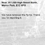 We have removed the fly-tip. Thank you for reporting it.-387-389 High Street North, Manor Park, E12 6PG