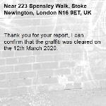 Thank you for your report, I can confirm that the graffiti was cleared on the 12th March 2020.-223 Spensley Walk, Stoke Newington, London N16 9ET, UK