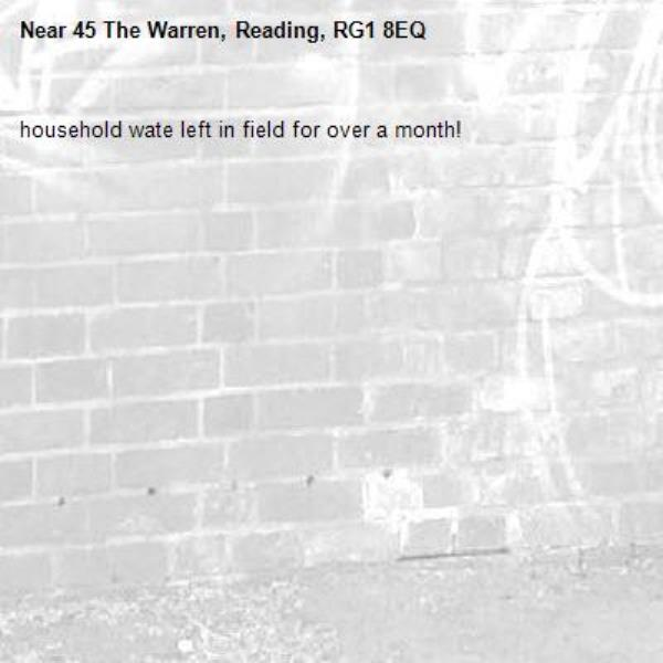 household wate left in field for over a month!-45 The Warren, Reading, RG1 8EQ