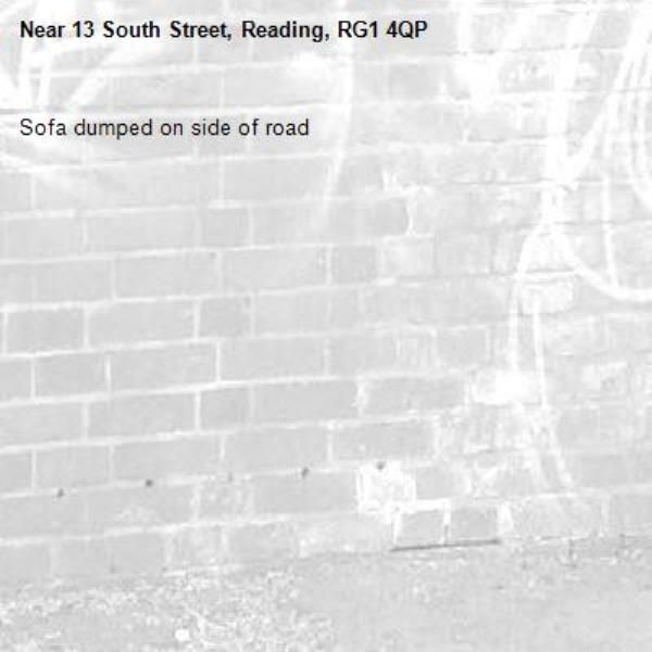Sofa dumped on side of road-13 South Street, Reading, RG1 4QP