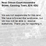 We are not responsible for this land. We have informed the landowner, but we may not be able to  resolve ourselves. Thank you for reporting it.-Odeon Court Alexandra Street, Canning Town, E16 4DU