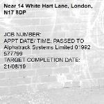 JOB NUMBER: APPT DATE/ TIME: PASSED TO Alphatrack Systems Limited 01992 577799 TARGET COMPLETION DATE: 21/08/19-14 White Hart Lane, London, N17 8DP