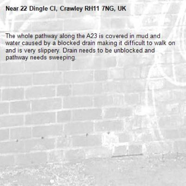 The whole pathway along the A23 is covered in mud and water caused by a blocked drain making it difficult to walk on and is very slippery. Drain needs to be unblocked and pathway needs sweeping.-22 Dingle Cl, Crawley RH11 7NG, UK