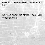 We have swept the street. Thank you for reporting it.-50 Cranmer Road, London, E7 0JL