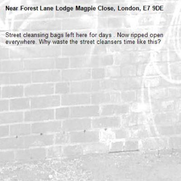 Street cleansing bags left here for days . Now ripped open everywhere. Why waste the street cleansers time like this? -Forest Lane Lodge Magpie Close, London, E7 9DE