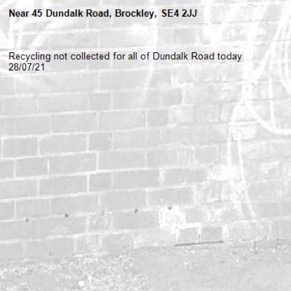 Recycling not collected for all of Dundalk Road today 28/07/21-45 Dundalk Road, Brockley, SE4 2JJ
