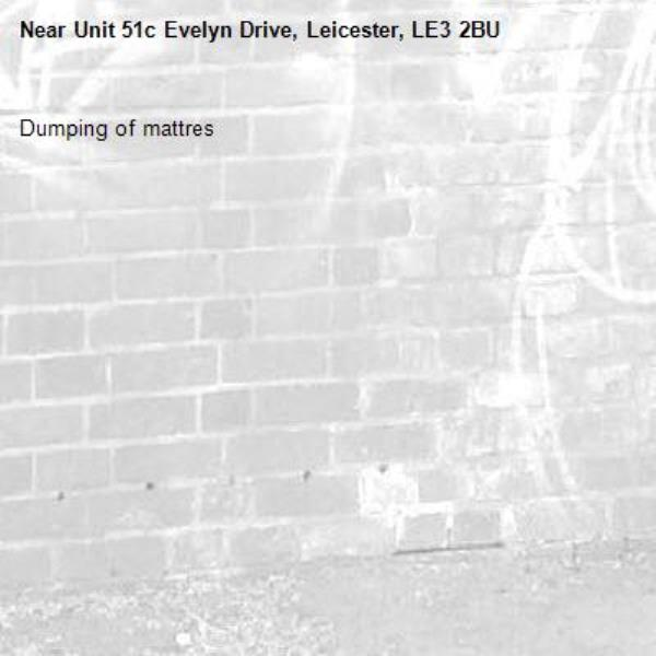 Dumping of mattres-Unit 51c Evelyn Drive, Leicester, LE3 2BU