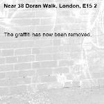 The graffiti has now been removed.-38 Doran Walk, London, E15 2