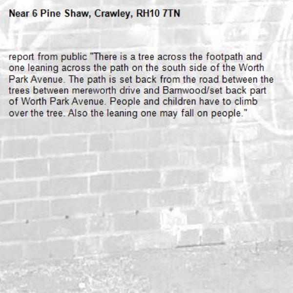 """report from public """"There is a tree across the footpath and one leaning across the path on the south side of the Worth Park Avenue. The path is set back from the road between the trees between mereworth drive and Barnwood/set back part of Worth Park Avenue. People and children have to climb over the tree. Also the leaning one may fall on people.""""-6 Pine Shaw, Crawley, RH10 7TN"""