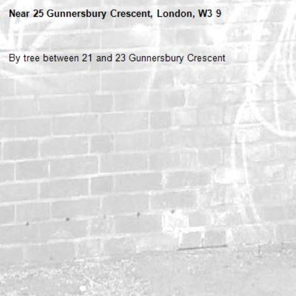 By tree between 21 and 23 Gunnersbury Crescent-25 Gunnersbury Crescent, London, W3 9