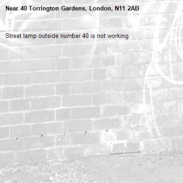Street lamp outside number 40 is not working -40 Torrington Gardens, London, N11 2AB