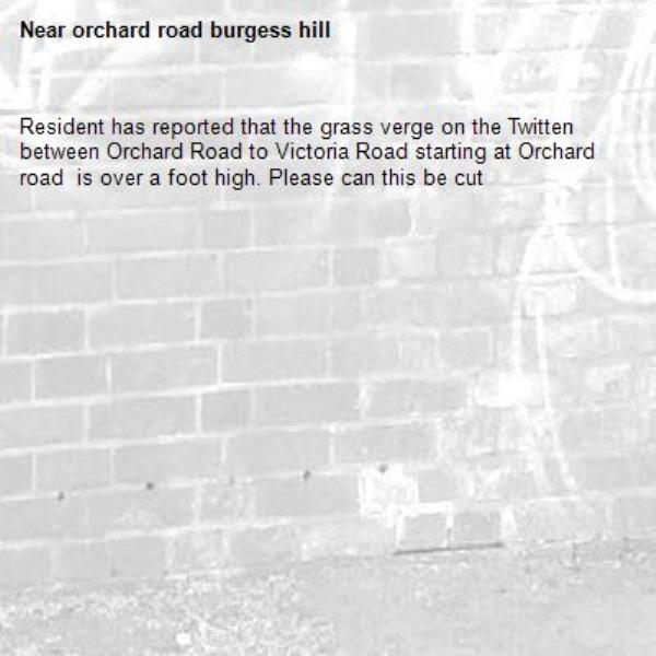Resident has reported that the grass verge on the Twitten between Orchard Road to Victoria Road starting at Orchard road  is over a foot high. Please can this be cut -orchard road burgess hill