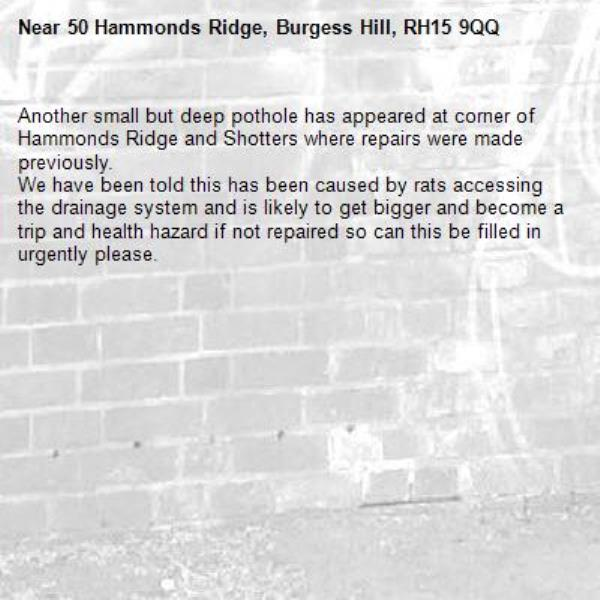 Another small but deep pothole has appeared at corner of Hammonds Ridge and Shotters where repairs were made previously. We have been told this has been caused by rats accessing the drainage system and is likely to get bigger and become a trip and health hazard if not repaired so can this be filled in urgently please.-50 Hammonds Ridge, Burgess Hill, RH15 9QQ