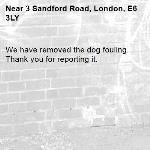 We have removed the dog fouling. Thank you for reporting it.-3 Sandford Road, London, E6 3LY