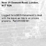 Logged for ASB/Enforcement to deal with the issue as this is on private property.  Ref:WK458464-29 Dowsett Road, London, N17 9DA