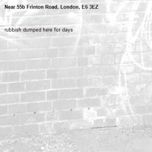 rubbish dumped here for days -55b Frinton Road, London, E6 3EZ