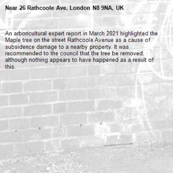 An arboricultural expert report in March 2021 highlighted the Maple tree on the street Rathcoole Avenue as a cause of subsidence damage to a nearby property. It was recommended to the council that the tree be removed, although nothing appears to have happened as a result of this.-26 Rathcoole Ave, London N8 9NA, UK