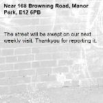 The street will be swept on our next weekly visit. Thankyou for reporting it.-168 Browning Road, Manor Park, E12 6PB