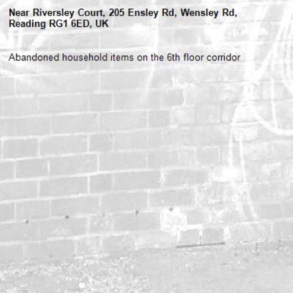 Abandoned household items on the 6th floor corridor-Riversley Court, 205 Ensley Rd, Wensley Rd, Reading RG1 6ED, UK