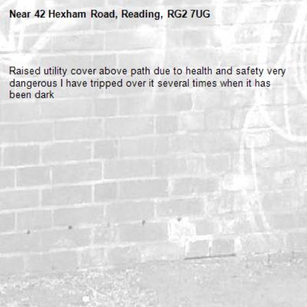 Raised utility cover above path due to health and safety very dangerous I have tripped over it several times when it has been dark-42 Hexham Road, Reading, RG2 7UG