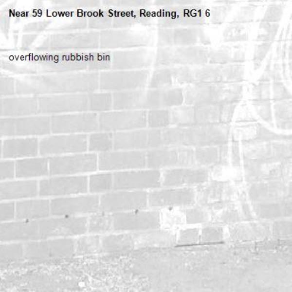 overflowing rubbish bin-59 Lower Brook Street, Reading, RG1 6