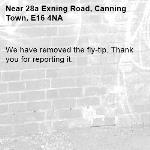 We have removed the fly-tip. Thank you for reporting it.-28a Exning Road, Canning Town, E16 4NA