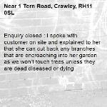 Enquiry closed : I spoke with customer on site and explained to her that she can cut back any branches that are encroaching into her garden as we won't touch trees unless they are dead diseased or dying-1 Tern Road, Crawley, RH11 0SL