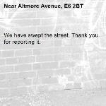 We have swept the street. Thank you for reporting it.-Altmore Avenue, E6 2BT