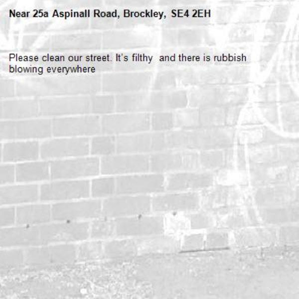 Please clean our street. It's filthy  and there is rubbish blowing everywhere-25a Aspinall Road, Brockley, SE4 2EH