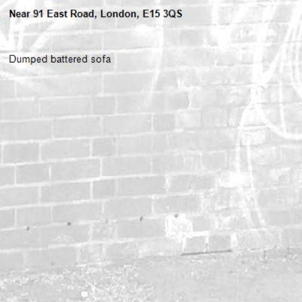 Dumped battered sofa-91 East Road, London, E15 3QS