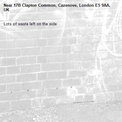 Lots of waste left on the side -17B Clapton Common, Cazenove, London E5 9AA, UK