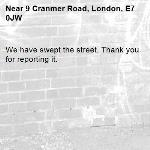 We have swept the street. Thank you for reporting it.-9 Cranmer Road, London, E7 0JW