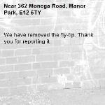 We have removed the fly-tip. Thank you for reporting it.-362 Monega Road, Manor Park, E12 6TY