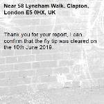 Thank you for your report, I can confirm that the fly tip was cleared on the 10th June 2019.