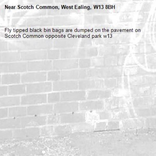 Fly tipped black bin bags are dumped on the pavement on Scotch Common opposite Cleveland park w13-Scotch Common, West Ealing, W13 8BH