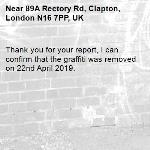 Thank you for your report, I can confirm that the graffiti was removed on 22nd April 2019.-89A Rectory Rd, Clapton, London N16 7PP, UK