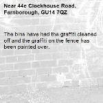 The bins have had the graffiti cleaned off and the graffiti on the fence has been painted over.-44e Clockhouse Road, Farnborough, GU14 7QZ