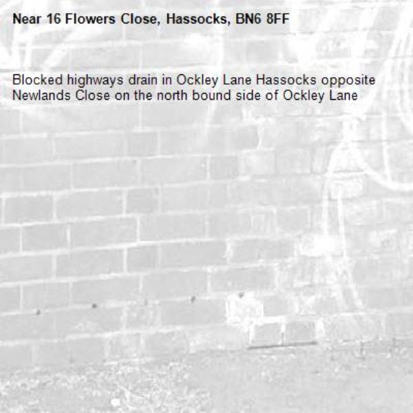 Blocked highways drain in Ockley Lane Hassocks opposite Newlands Close on the north bound side of Ockley Lane-16 Flowers Close, Hassocks, BN6 8FF