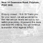 Enquiry closed : 19.6.19 Thank you for your report. we are governed by the intervention levels set out by our safety plus policy. At present this does not meet the criteria. We will continue to monitor. Kind regards WSCC-58 Downview Road, Felpham, PO22 8HH