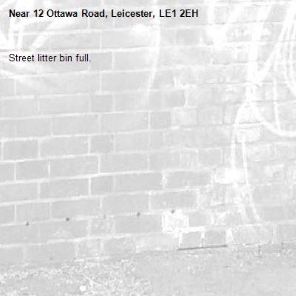 Street litter bin full.-12 Ottawa Road, Leicester, LE1 2EH