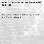 We have removed the fly-tip. Thank you for reporting it.-103 Plashet Grove, London E6 1AA, UK