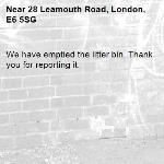 We have emptied the litter bin. Thank you for reporting it.-28 Leamouth Road, London, E6 5SG